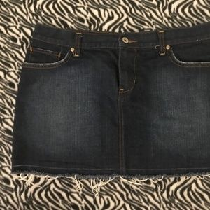 Old Navy Ultra Low Rise Blue Jean Frayed Skirt